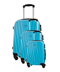 3pc mystic blue suitcase set