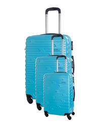 3pc twister blue suitcase set
