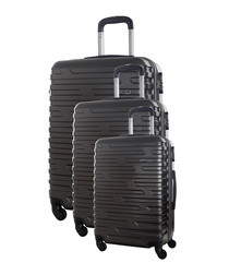 3pc twister grey suitcase set
