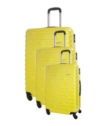 3pc twister yellow suitcase set