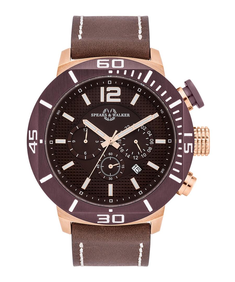 Pugnator brown leather & steel watch Sale - spears & walker