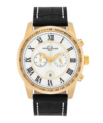 Aracona gold-tone steel & leather watch