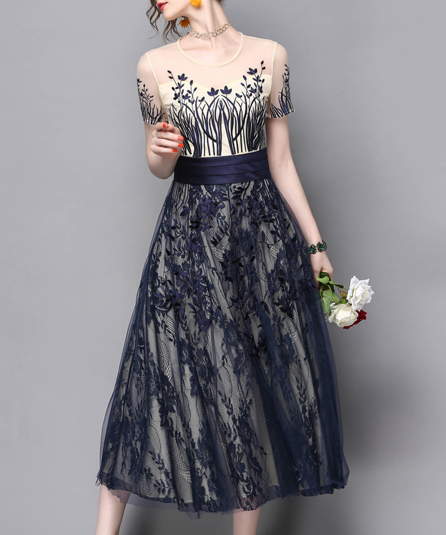Ivory & navy floral & sheer midi dress Sale - zeraco