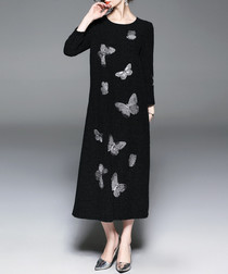 Black butterfly midi dress