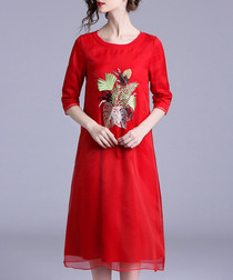Red bouquet print midi dress