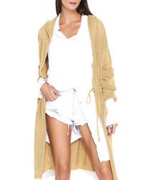 Camel longline hooded cardigan