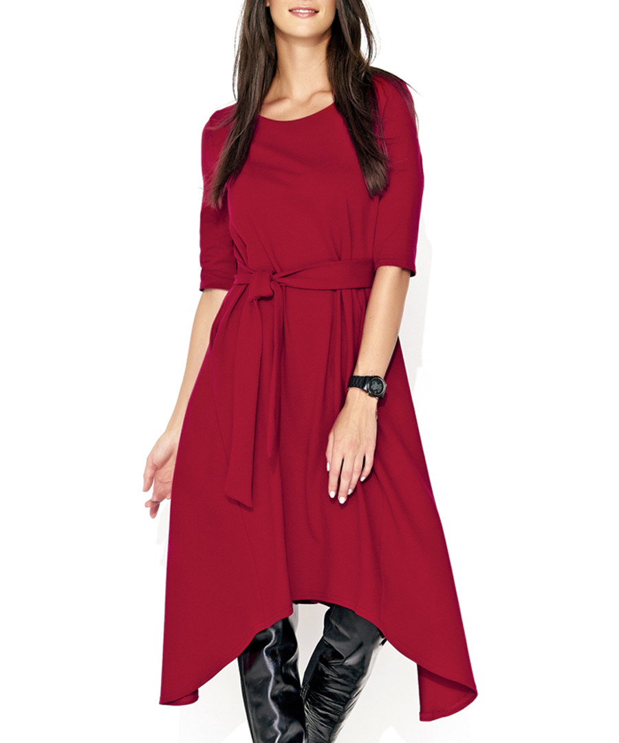 Maroon tie-waist asymmetric dress Sale - numinou