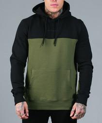 RAFOLA olive & black pure cotton hoodie