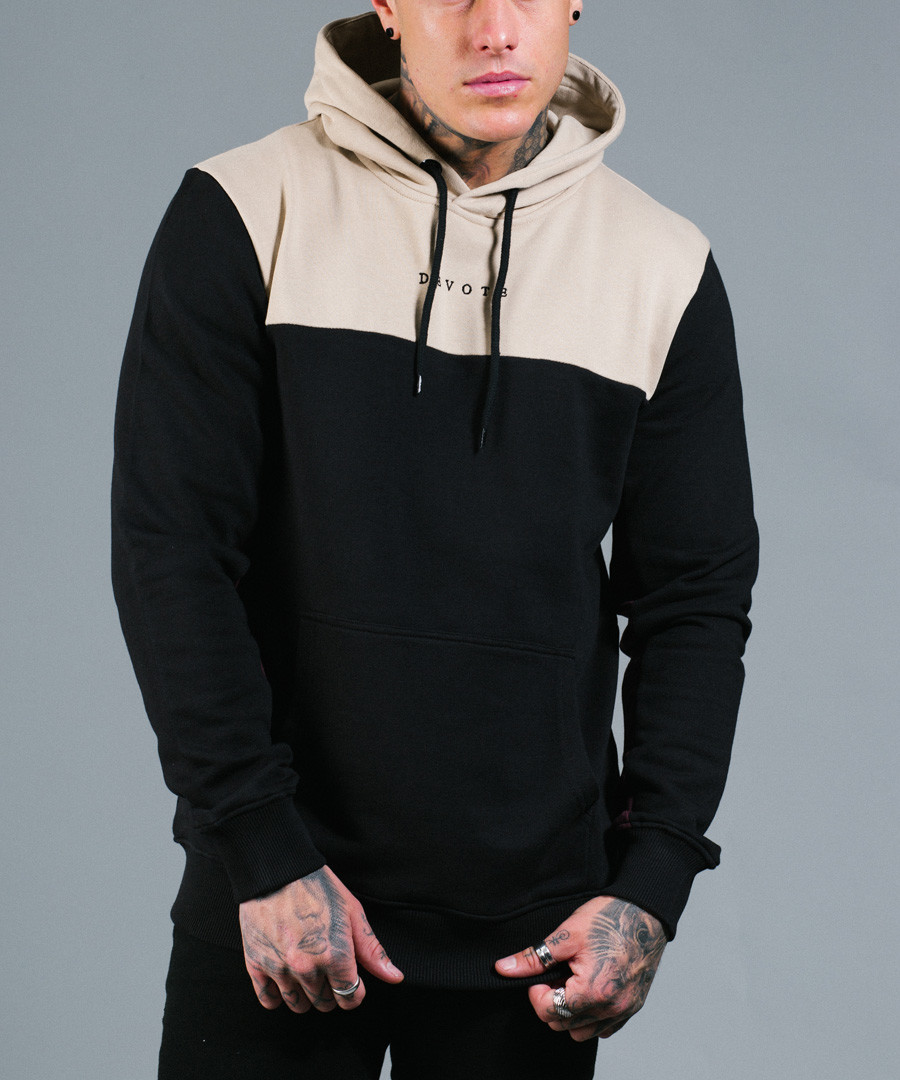 RAFOLA sand & black pure cotton hoodie Sale - devote
