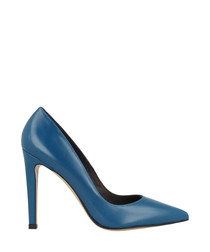 Blue leather court heels