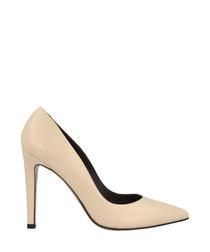 Beige leather court heels