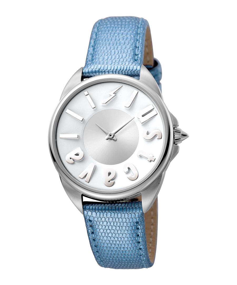 Silver-tone & blue leather logo watch Sale - JUST CAVALLI
