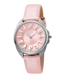 Silver-tone & pink leather logo watch