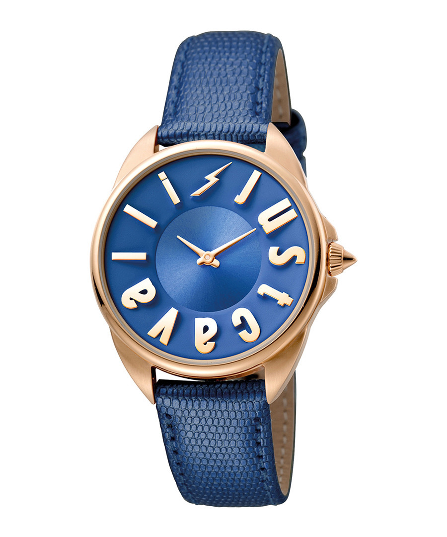 Gold-tone & blue leather logo watch Sale - JUST CAVALLI