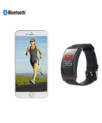 Black leather strap Bluetooth smartwatch