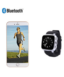 Silver-tone squared Bluetooth smartwatch