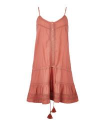 karen crochet trimmed cotton pink mini dress