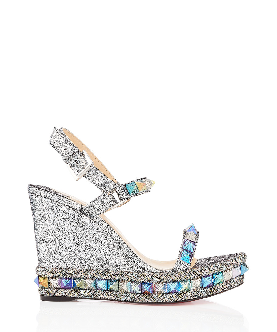Pyraclou Nappa 110 silver wedges Sale - christian louboutin
