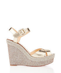 Almeria 120 light golden glitter wedges