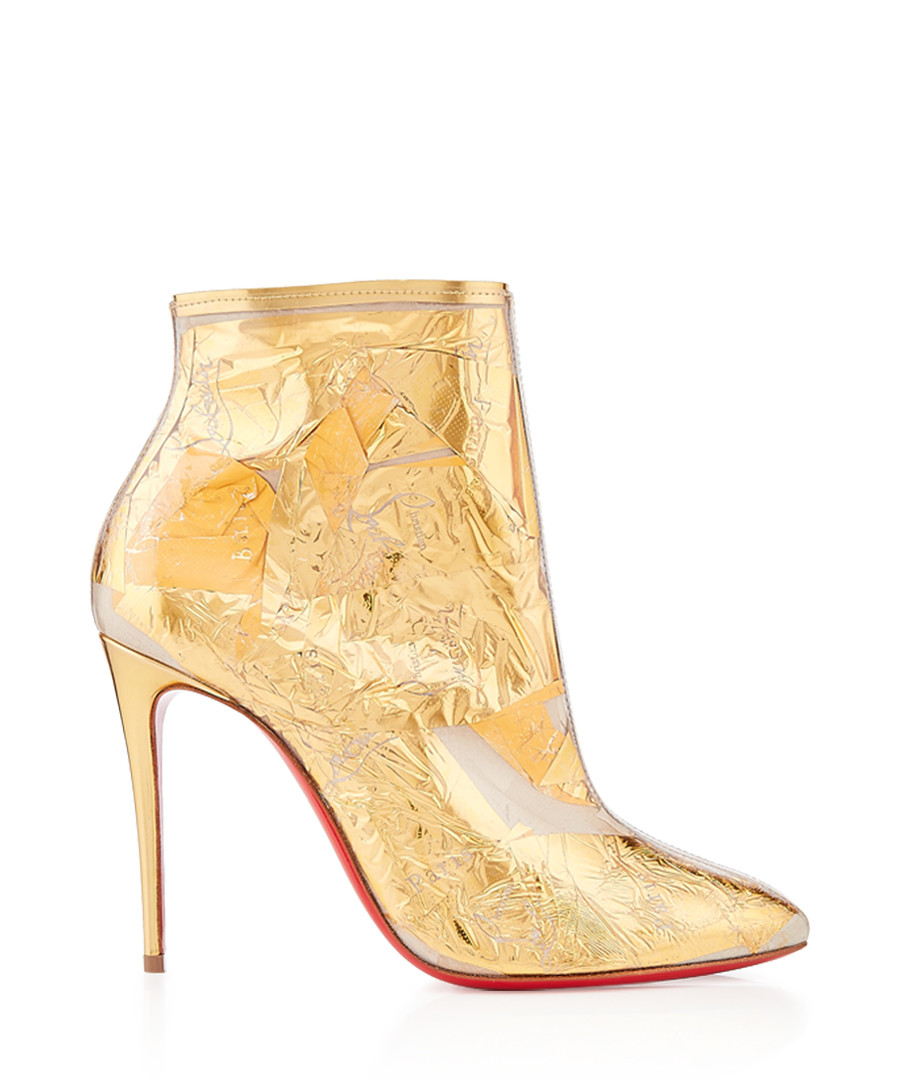 Booty Cap 100 crinkled gold ankle boots Sale - christian louboutin
