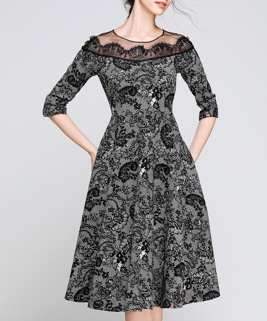 Grey & Black paisley detail dress Sale - Kaimilan