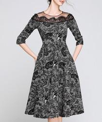 Grey & Black paisley detail dress