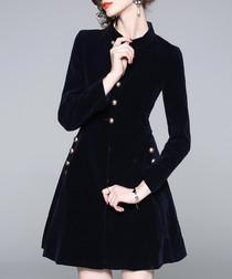 Black velvet button dress