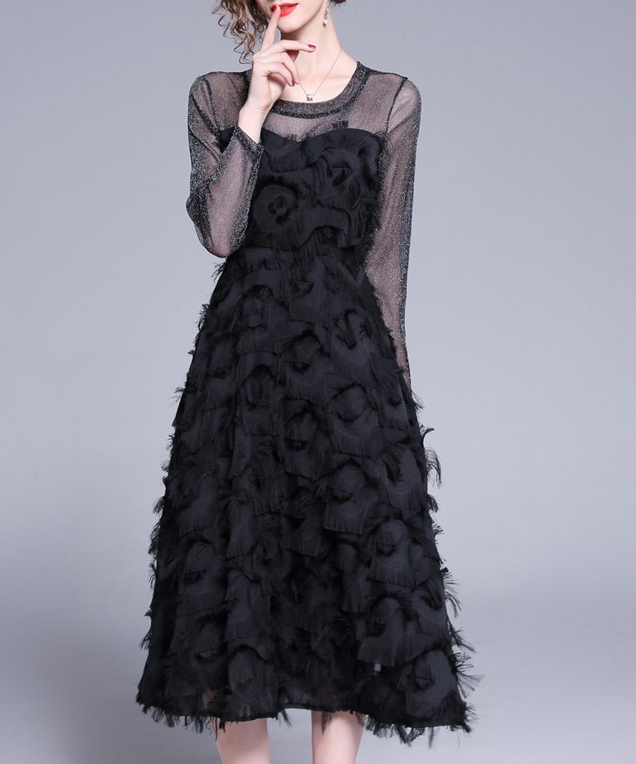 Black feathered sheer detail dress Sale - Kaimilan