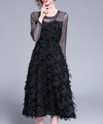 Black feathered sheer detail dress