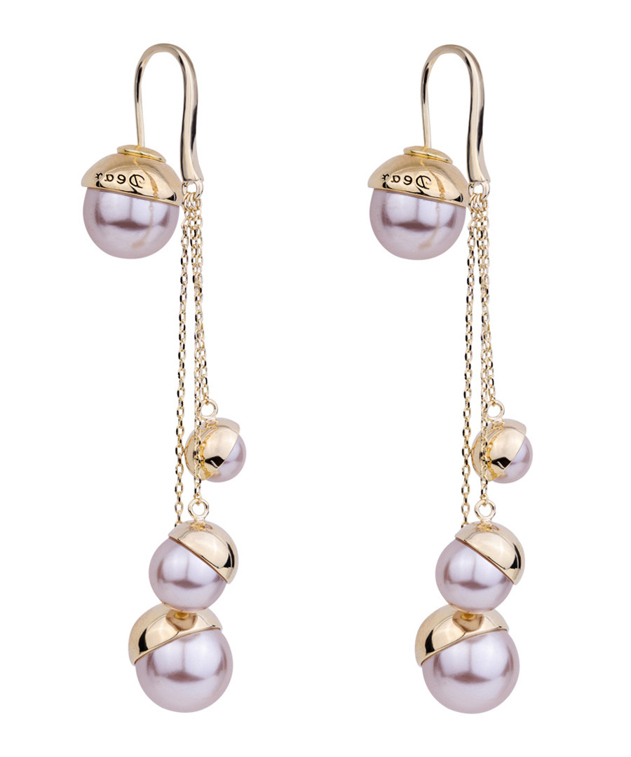 Gold-plate & pink drops earrings Sale - caromay