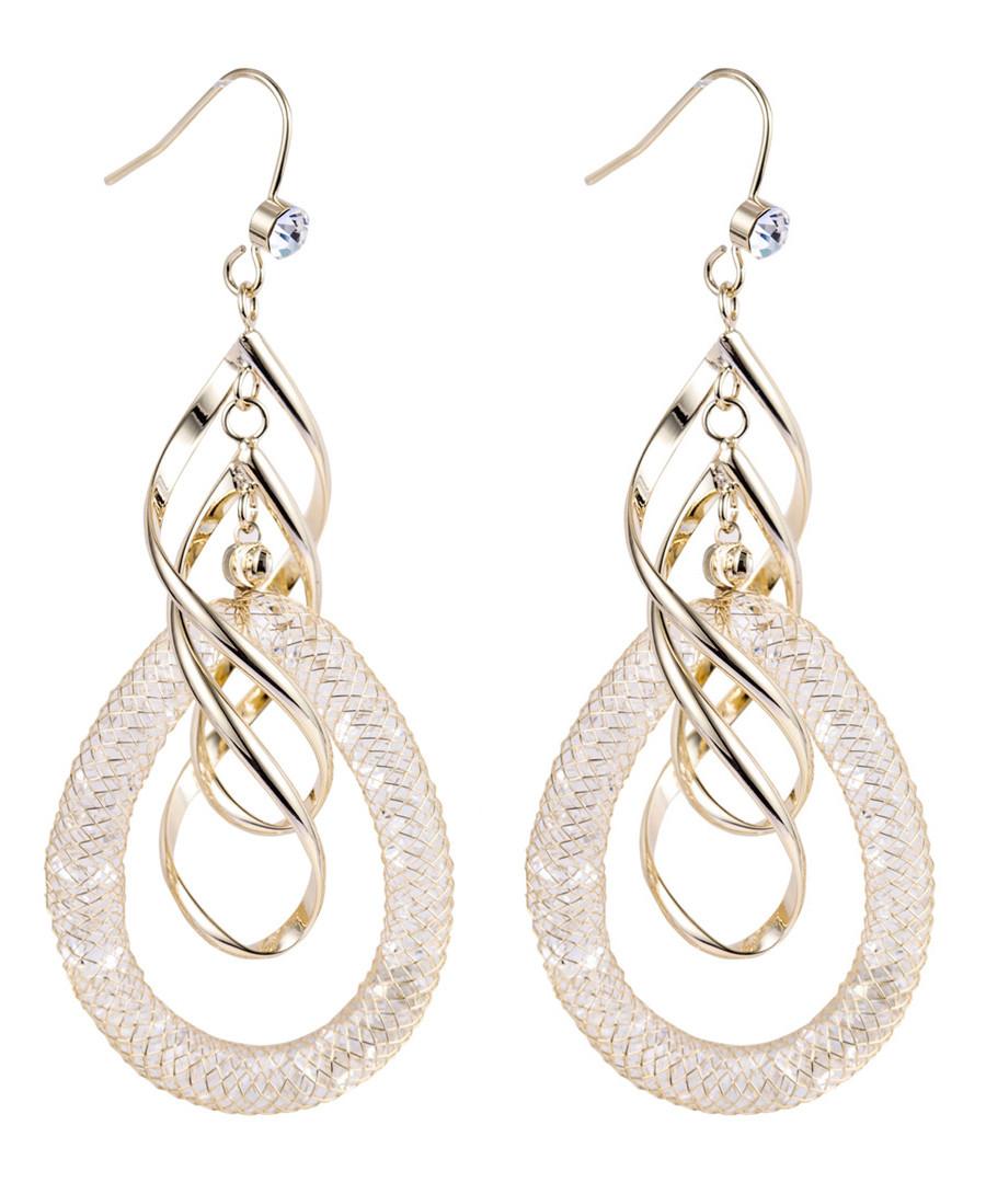 Gold-plate & zirconia helix earrings Sale - caromay