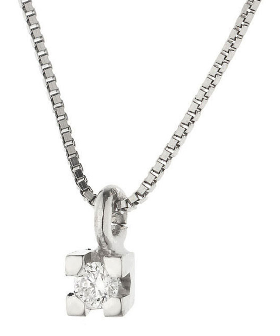 0.03ct diamond & 9k white gold necklace Sale - dyamant