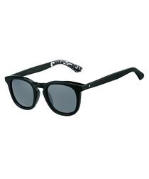 Ben black rounded D-frame sunglasses