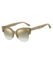 Priya tan glitter mirror club sunglasses