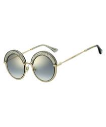 Gotha gold-tone glitter round sunglasses
