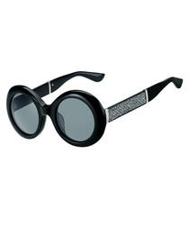 Wendy black glitter round sunglasses
