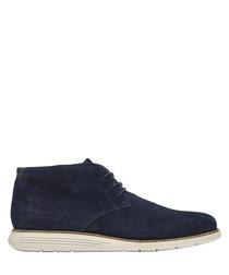 Navy lace-up Chukka shoes
