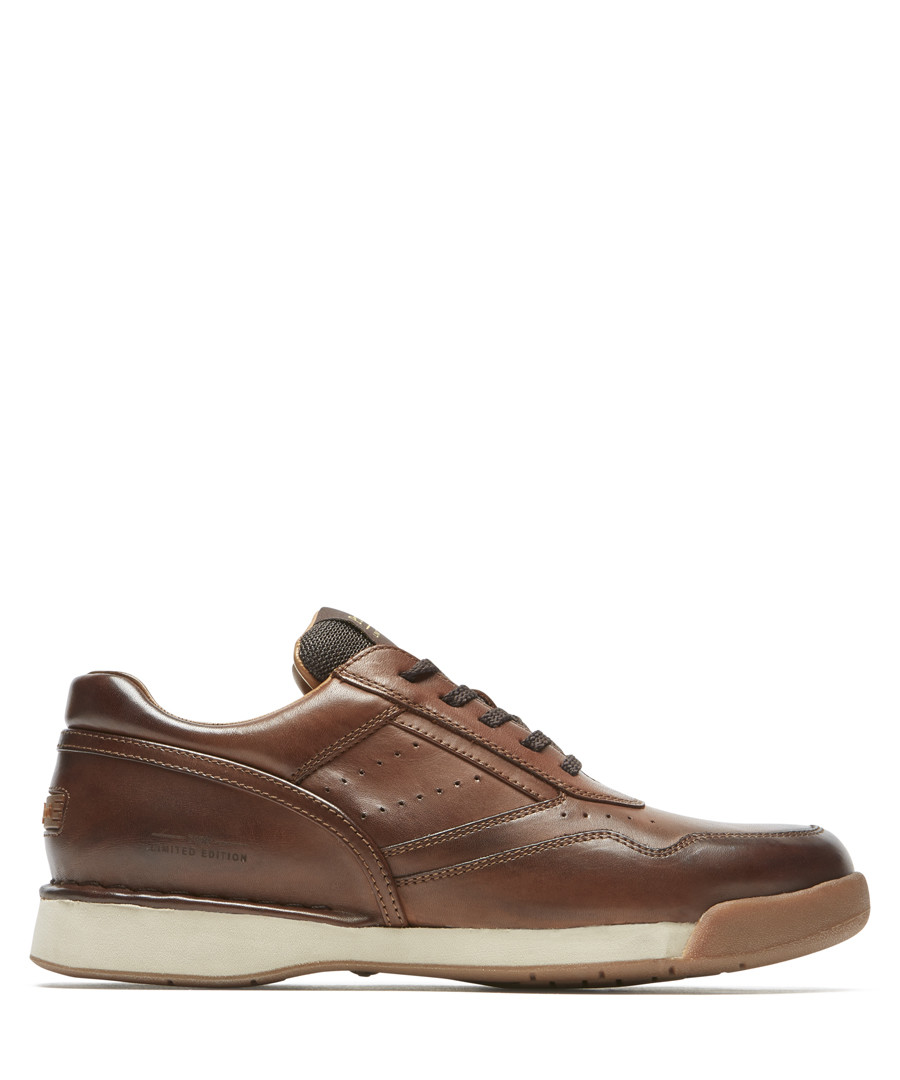 Dark brown leather sneakers Sale - rockport