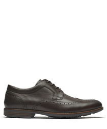 Dustyn cocoa leather wingtip Oxfords