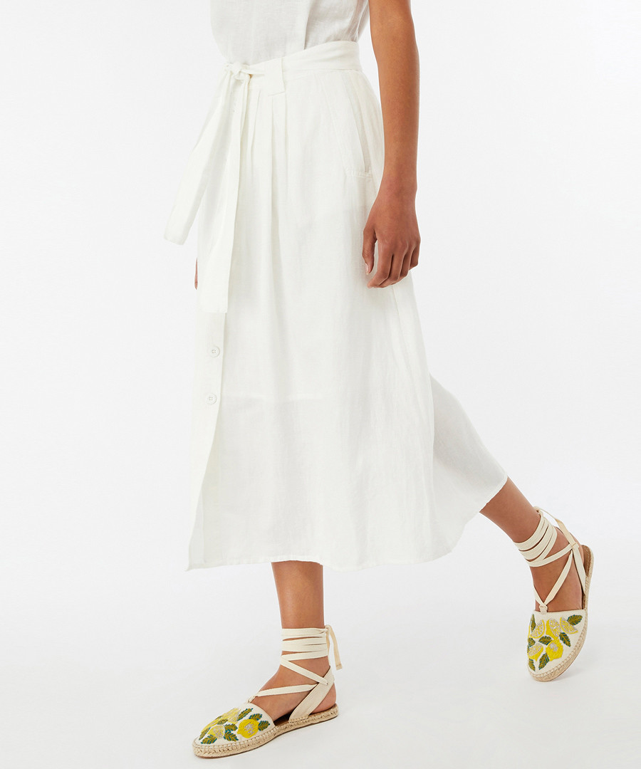 Iris white linen & cotton midi skirt Sale - monsoon