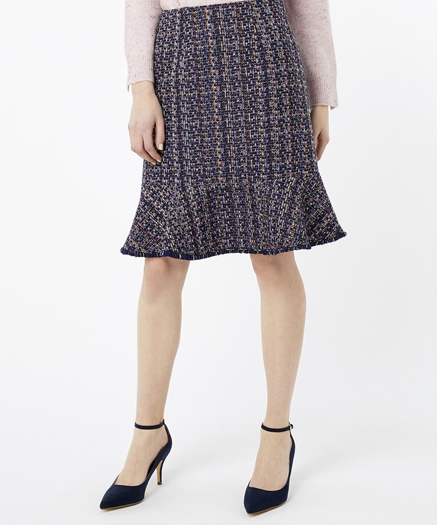 Tye navy tweed skirt Sale - monsoon