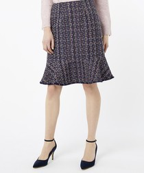 Tye navy tweed skirt