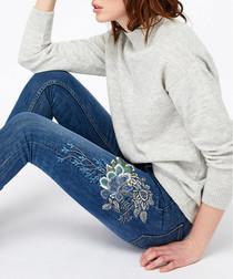 Afina indigo embroidered skinny jeans