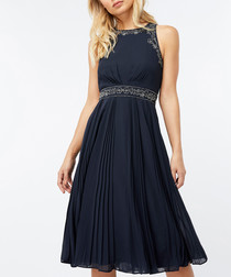 Anna navy embellished pleated dress