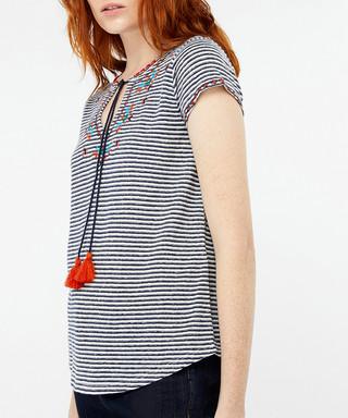 bce1863644 Heidy cotton   linen striped T-shirt Sale - monsoon Sale