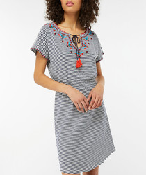 Heidy striped tassel detail mini dress