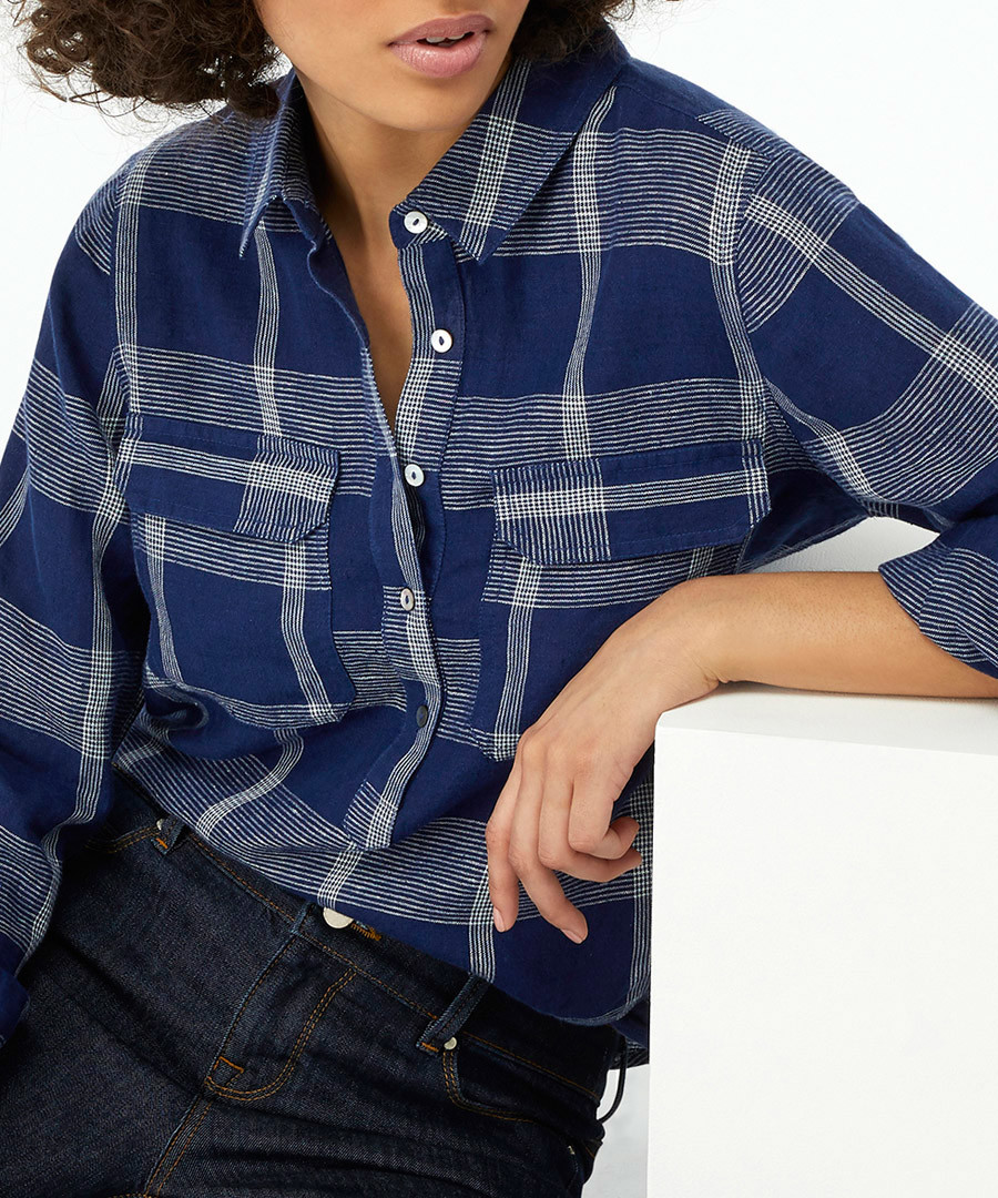 Moira navy pure linen check shirt Sale - monsoon