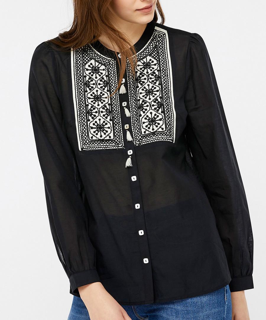 Katana black embroidered blouse Sale - monsoon
