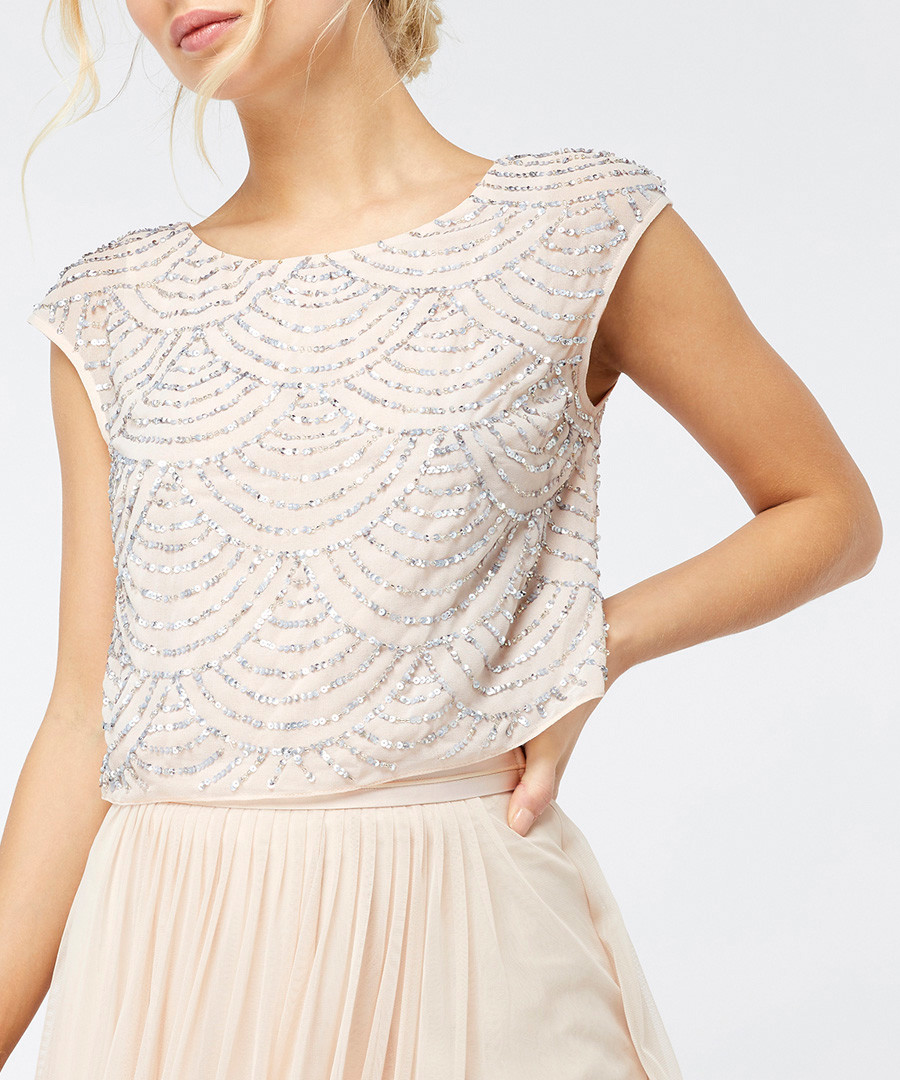 Selena nude embellished top Sale - monsoon