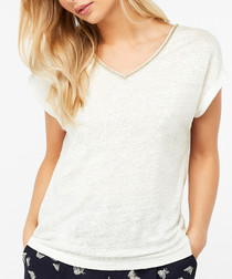 Logan ivory pure linen T-shirt